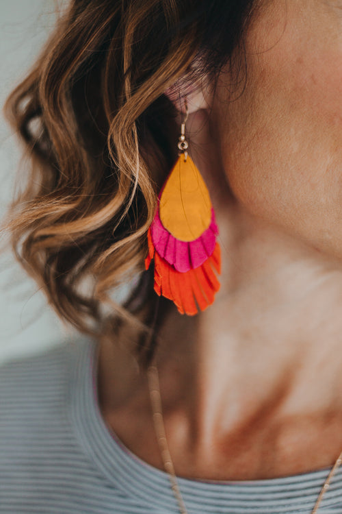 Leather Layered Earrings *Orange/Fuchsia