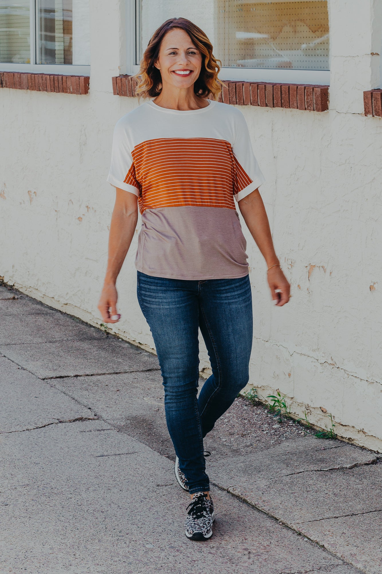 Mocha Rust Stripe Top