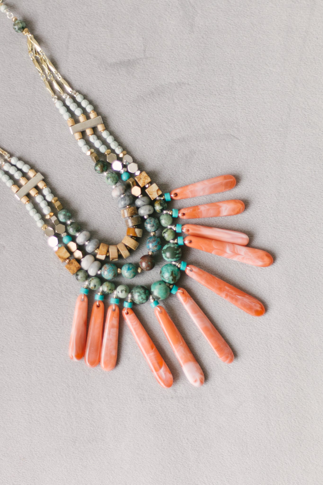 Nakamol Coral and Blue Stone Necklace