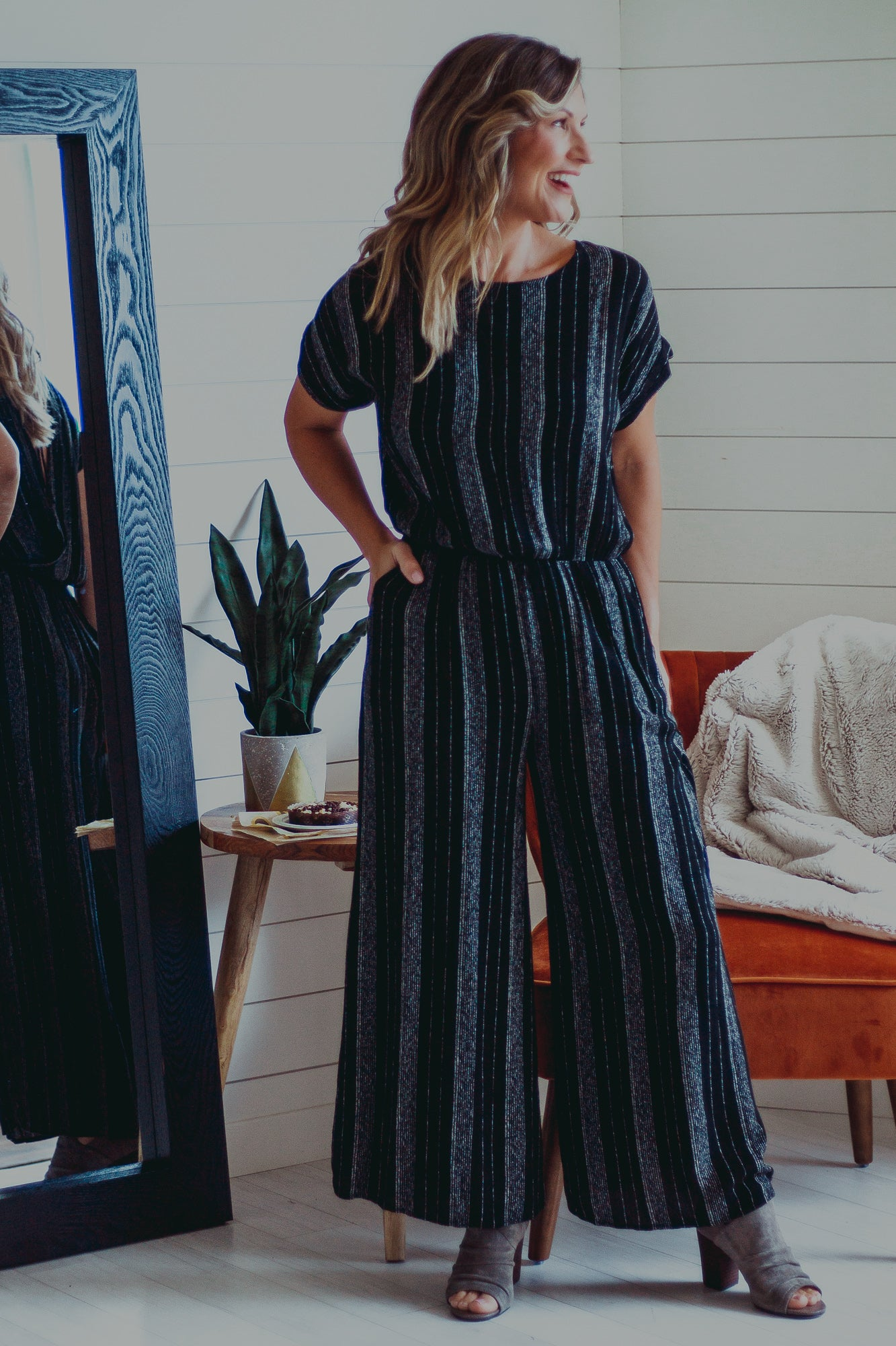 Evie Black Stripped Jumpsuit