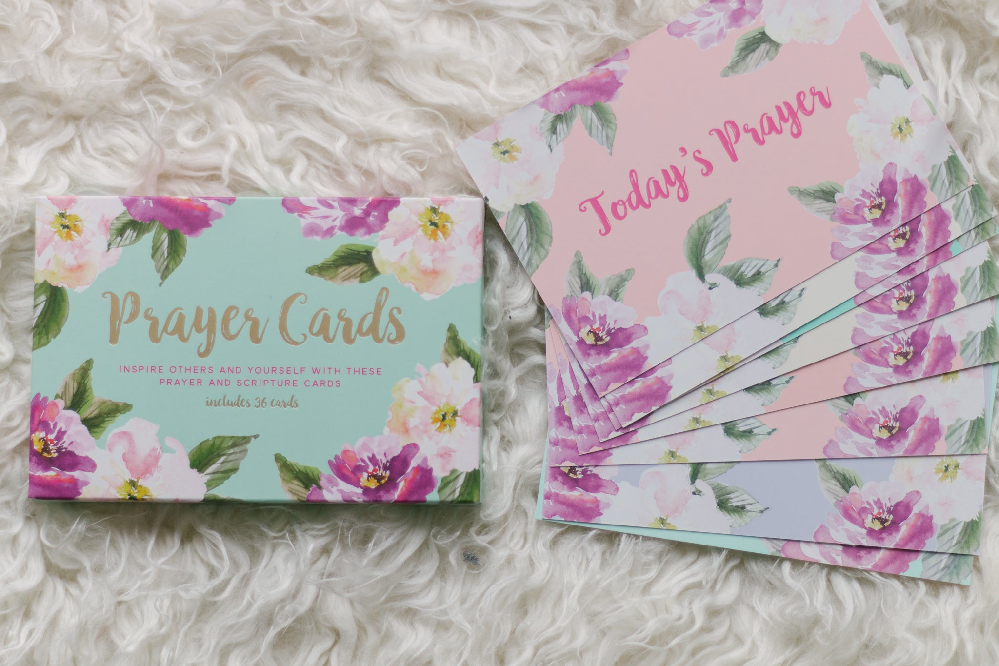 Mint Floral Prayer Cards