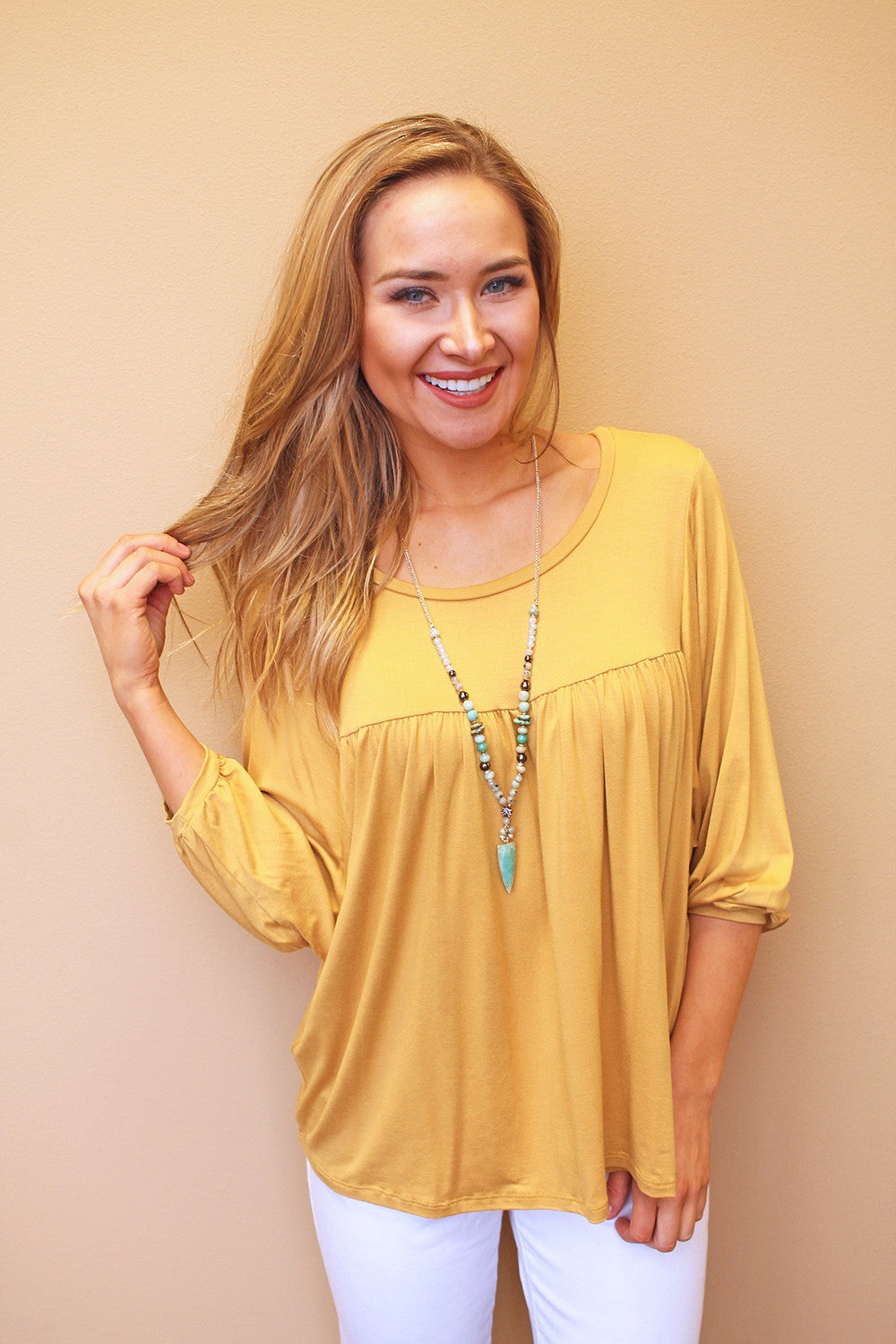 Mustard Baby Doll Top