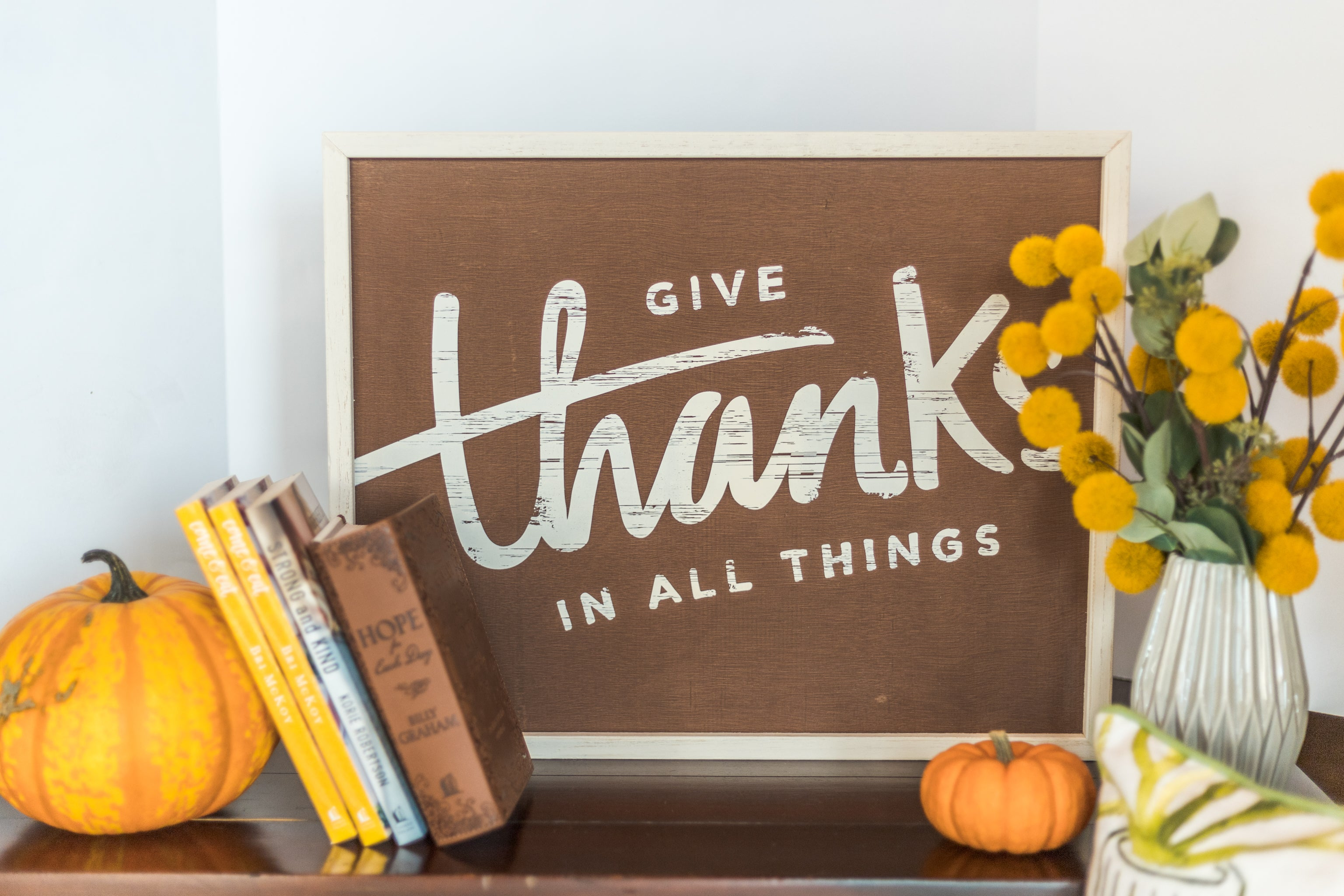 Give Thanks 16x20 Framed Board