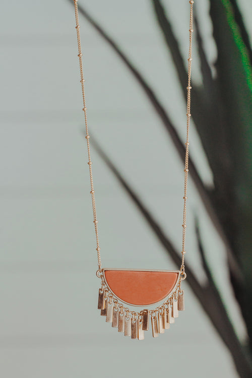Coral Wedge and Tassel Necklace