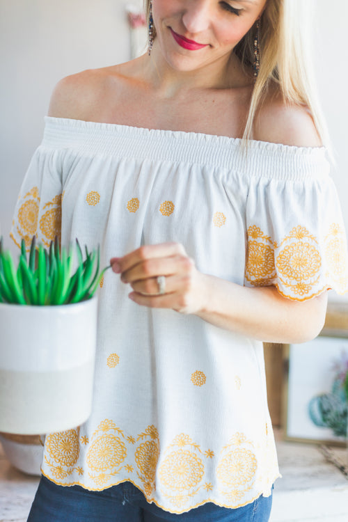 Rays of Sun Embroidered Top
