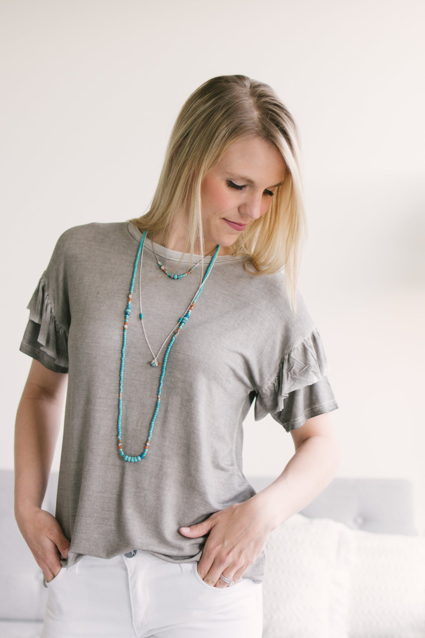 Nakamol Turquoise Aqua Beaded Necklace