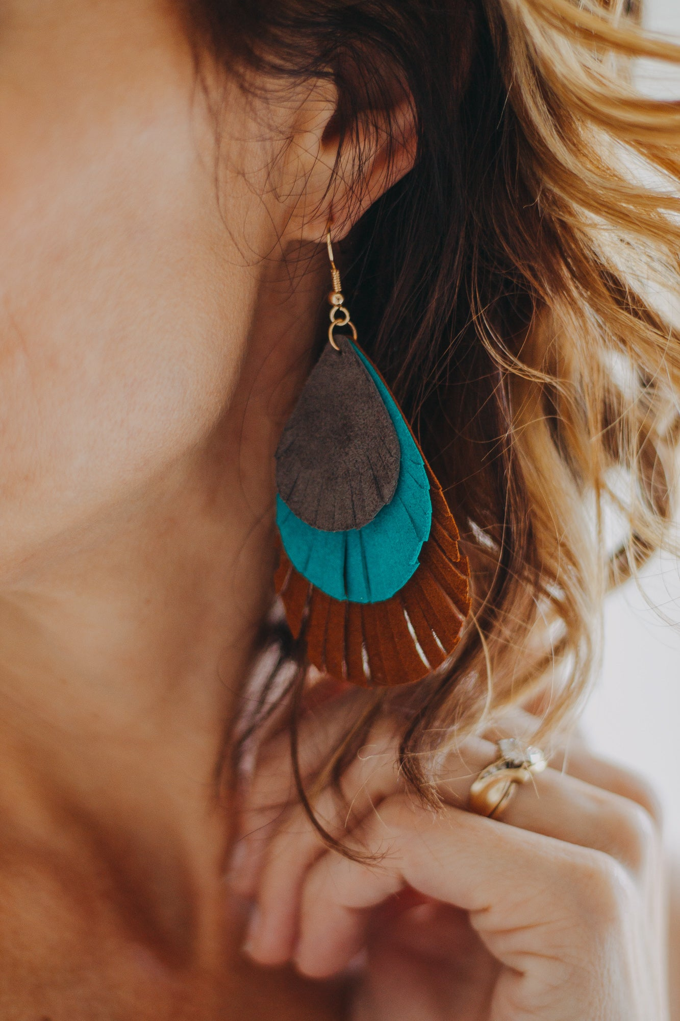 Leather Layered Earrings *Brown/Grey/Teal