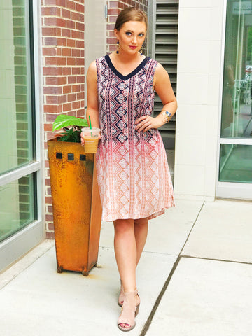 Oatmeal Southwestern Print Shift Dress