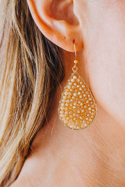 Sparkly Teardrop Earring *Champagne