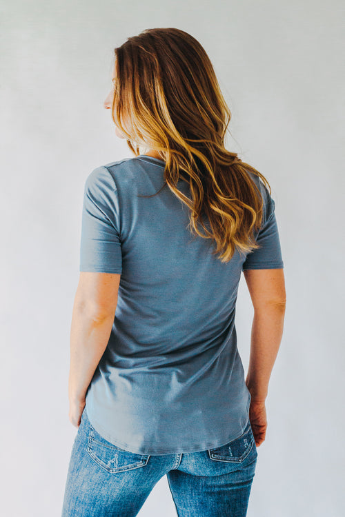Dusky Blue Pocket Tee