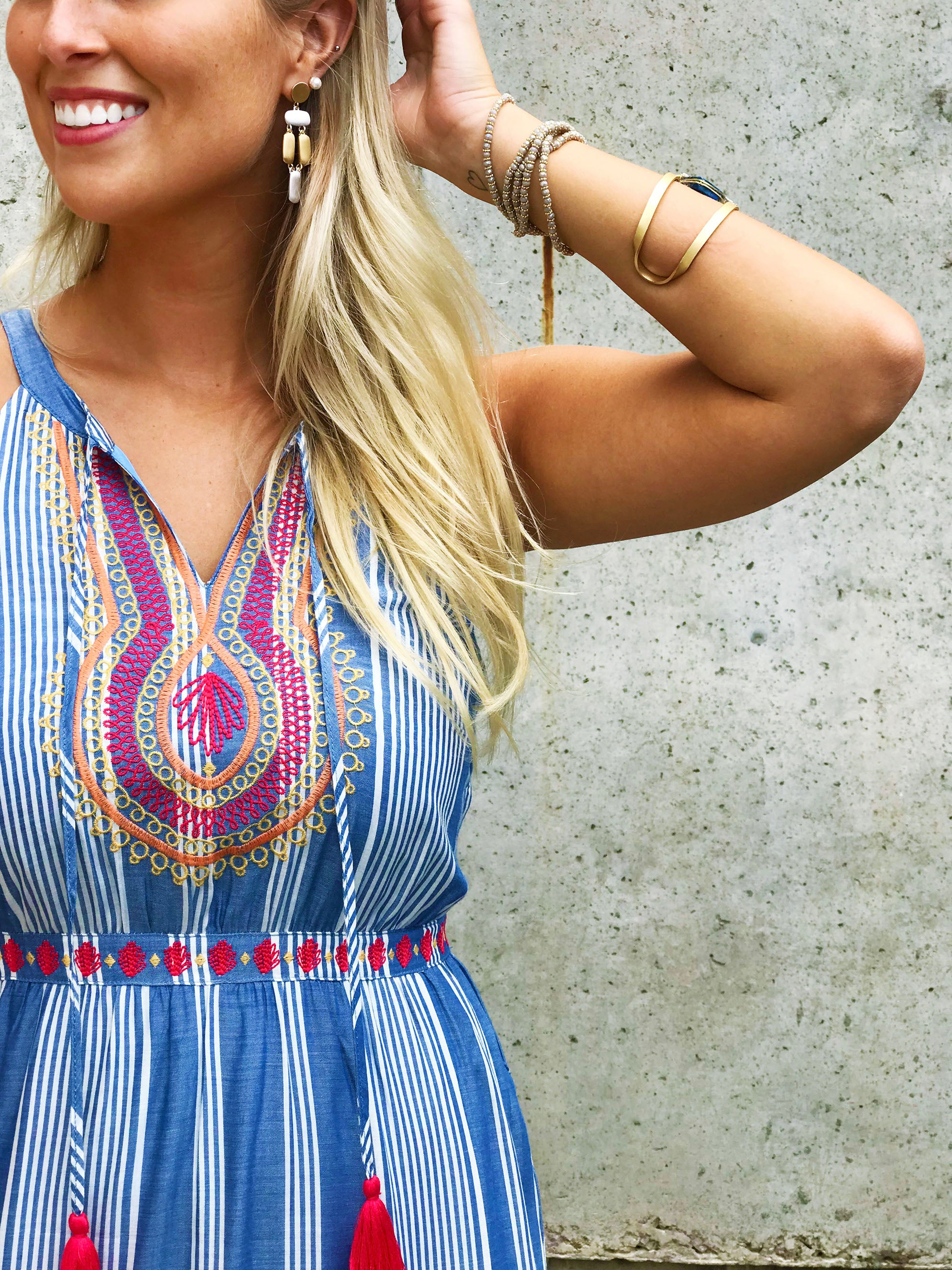 Stripe Embroidered Maxi Dress