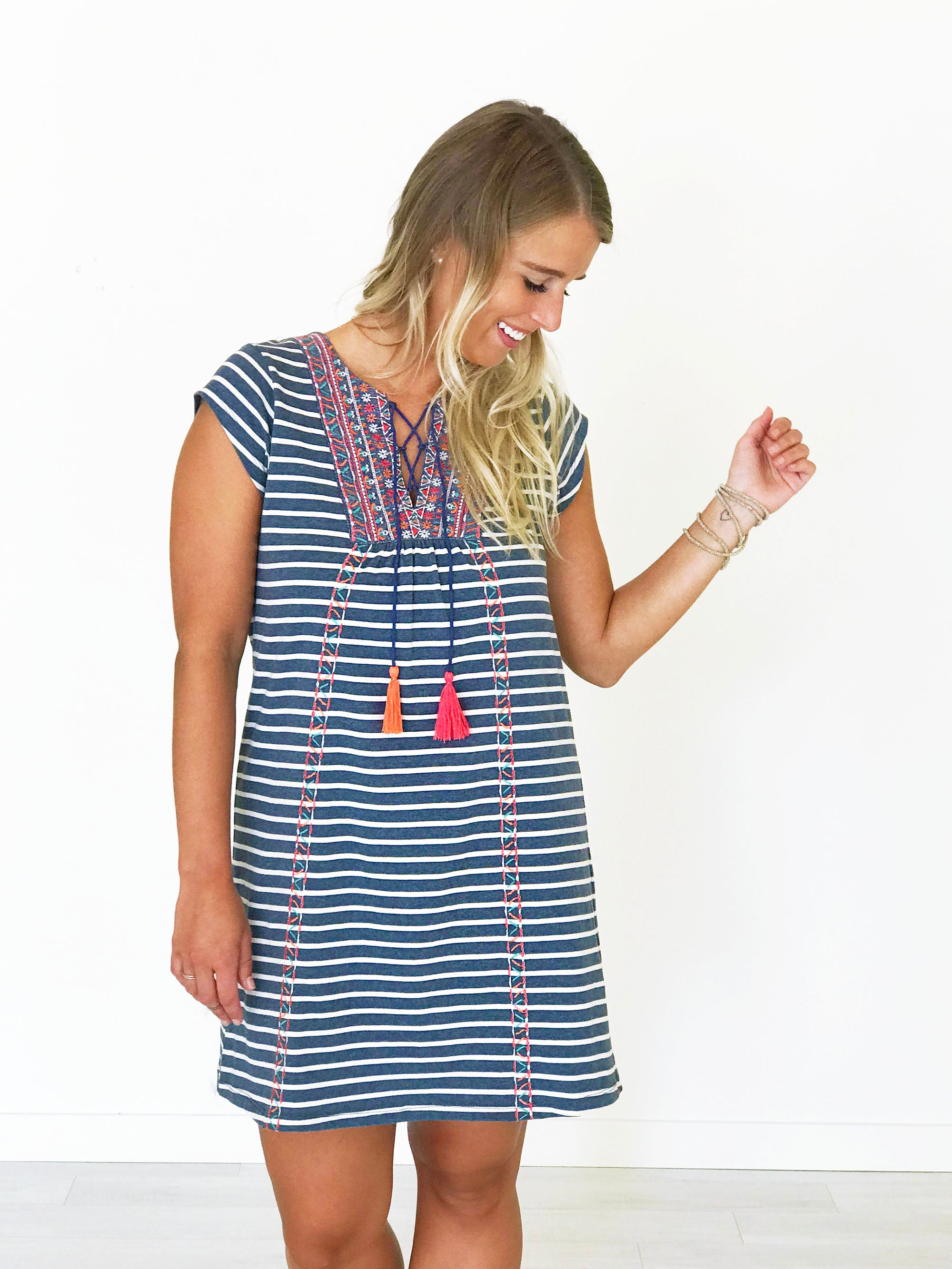 Embroidered Stripe Dress