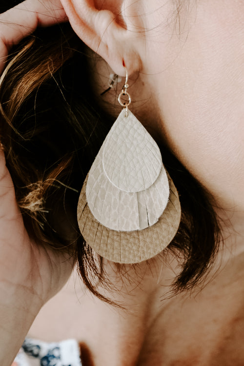 Natural 3-Layer Teardrop Earring