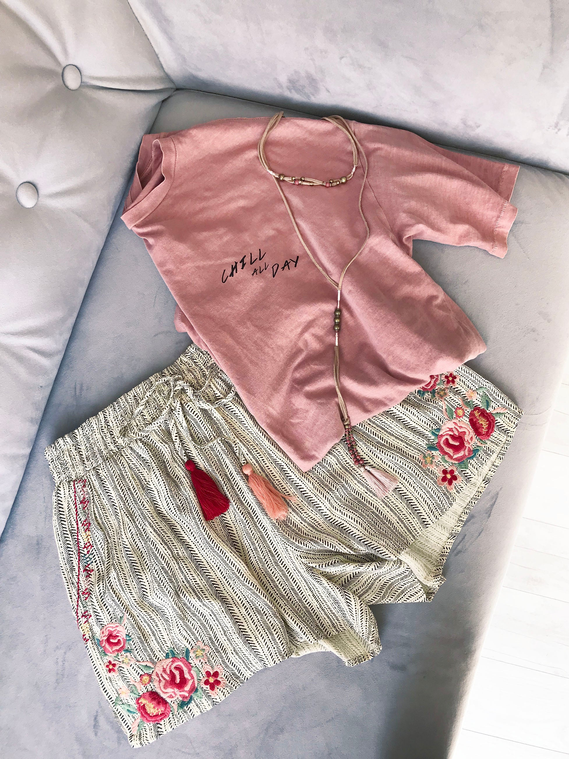 Dusty Petal Embroidered Short