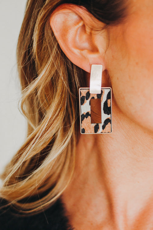 Leopard Rectangular Earring
