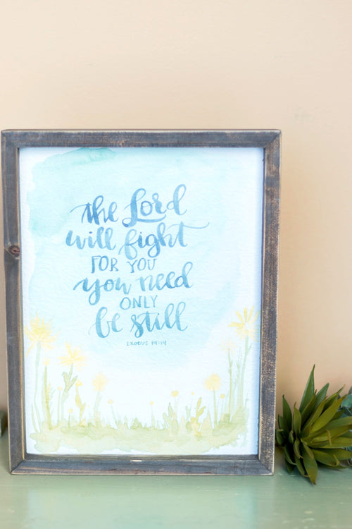 The Lord Will Fight Framed Board
