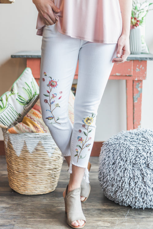 Nena White Embroidered Ankle Skinny