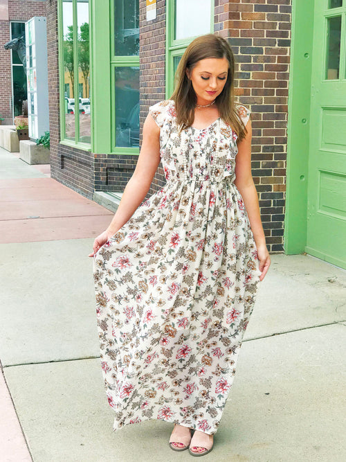 Cream Rose Maxi Dress