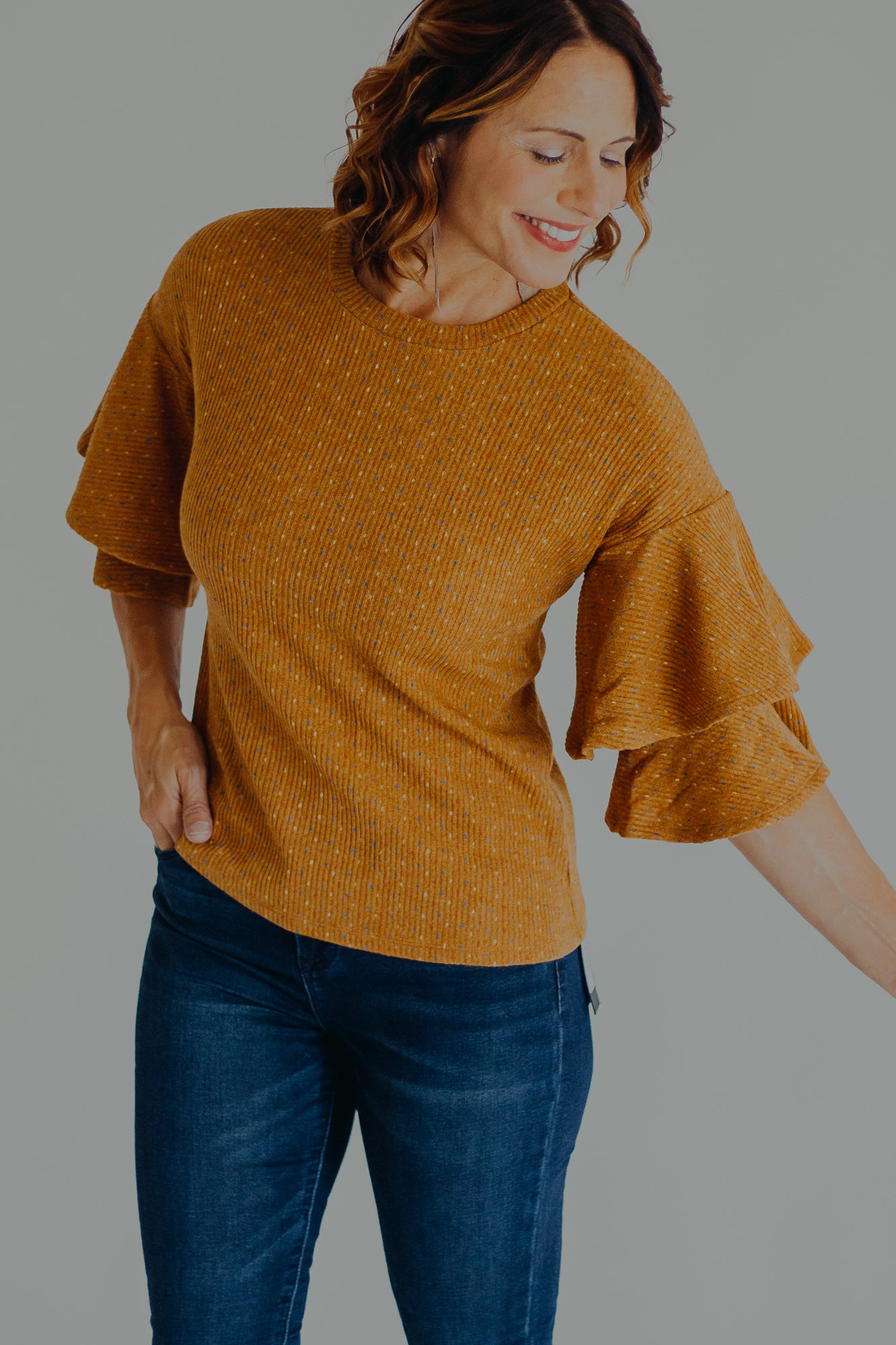 THML Harvest Ruffle Sleeve Top