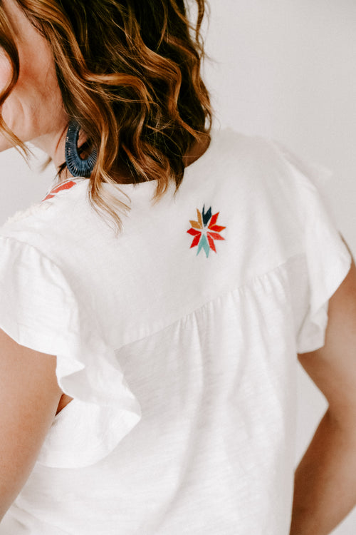 THML Flutter Top with Embroidery