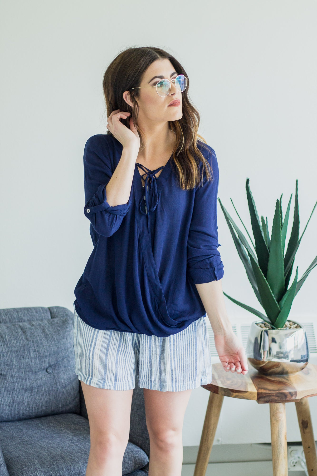 Francine Navy Lace-Up Blouse