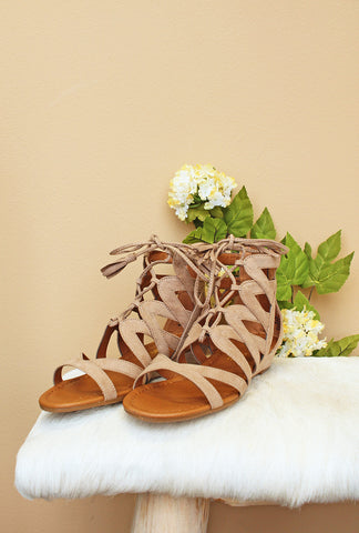 Taupe Saturate Tie-Up Sandal