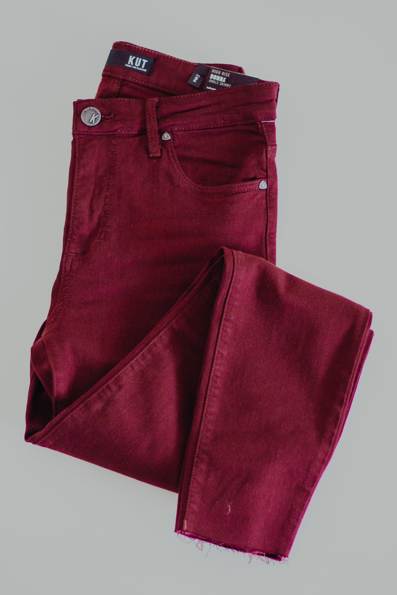 KUT Donna High Rise Ankle Skinny *Burgundy