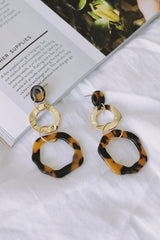 Enamel Link Earring *Brown