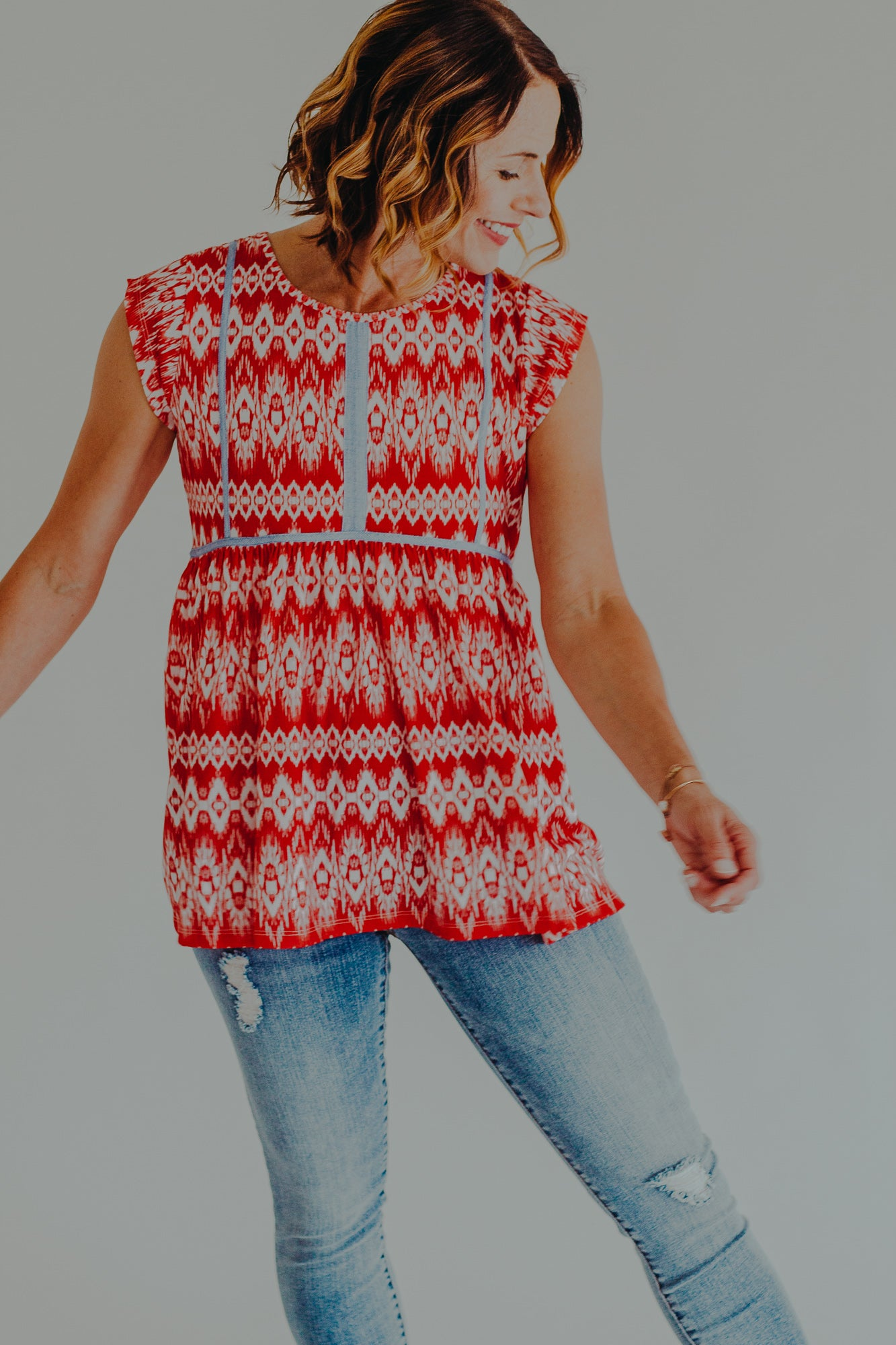 THML Red Liza Cap Sleeve Top