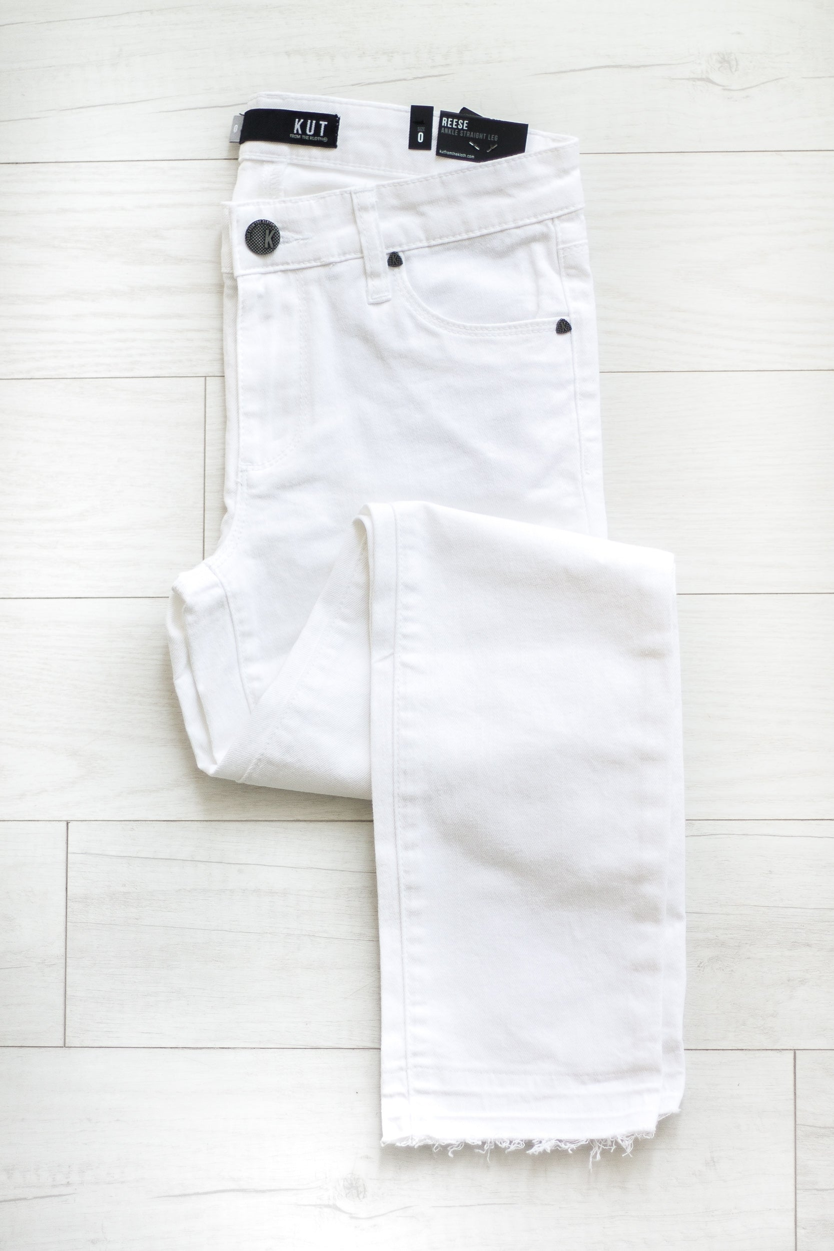 KUT Optic White Reese Straight Leg
