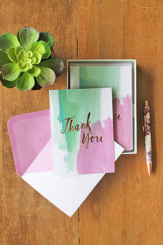 Watercolor Green Thank You Card Set