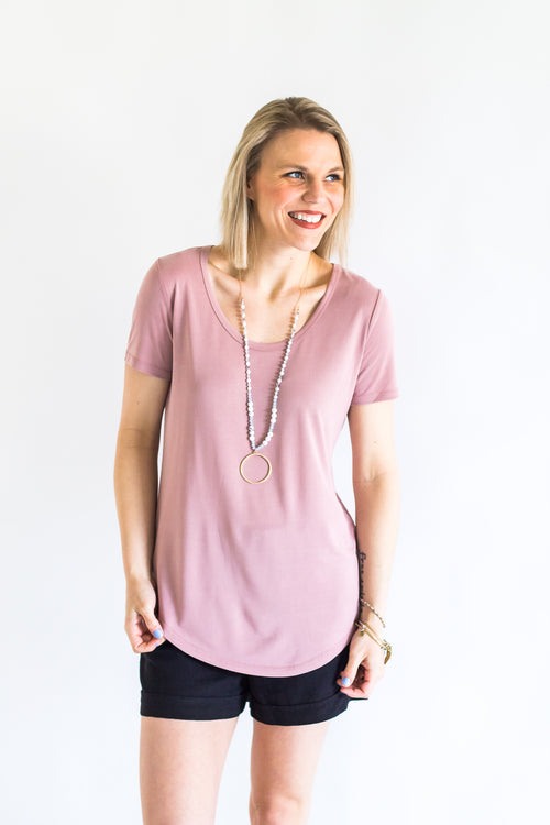 Soft Primrose Scoop Neck Tee