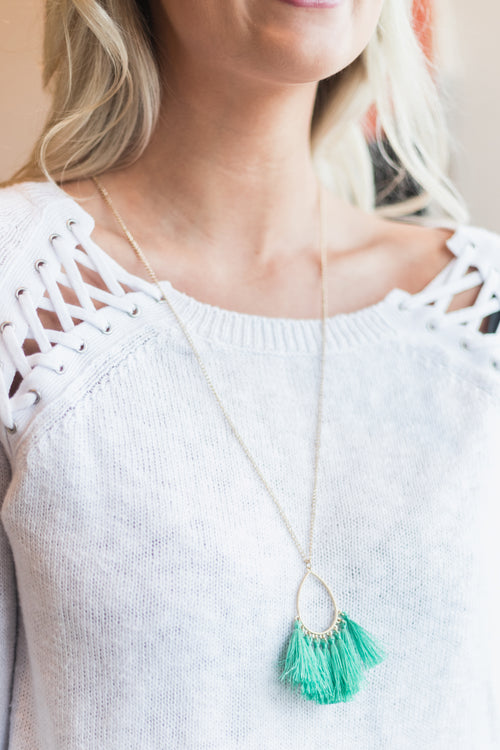 Mint/Gold Tassel Necklace