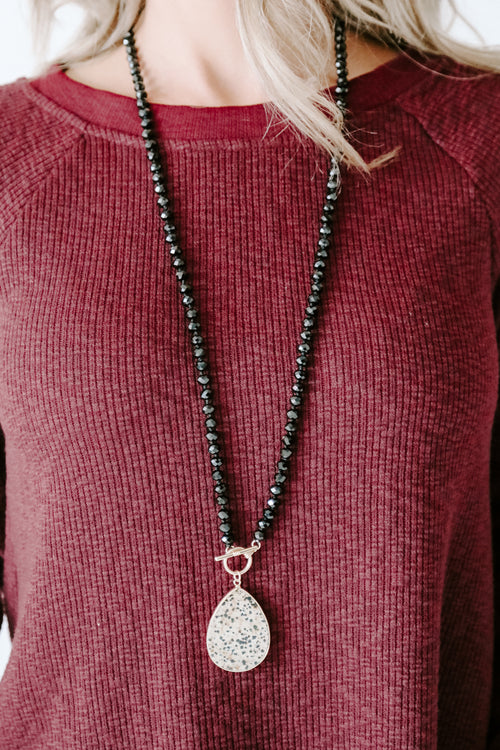 Teardrop & Glass Bead Necklace *Black