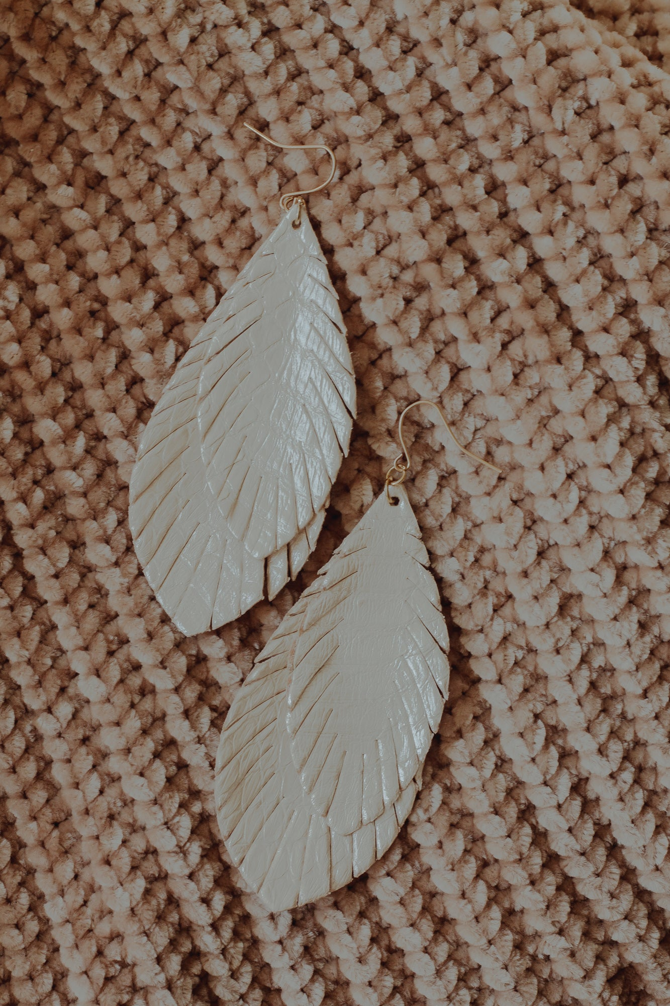 Marquise Leather Feather Earrings *Ivory