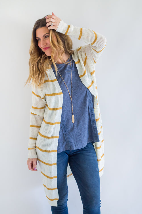 Chesney Mustard Stripe Cardigan
