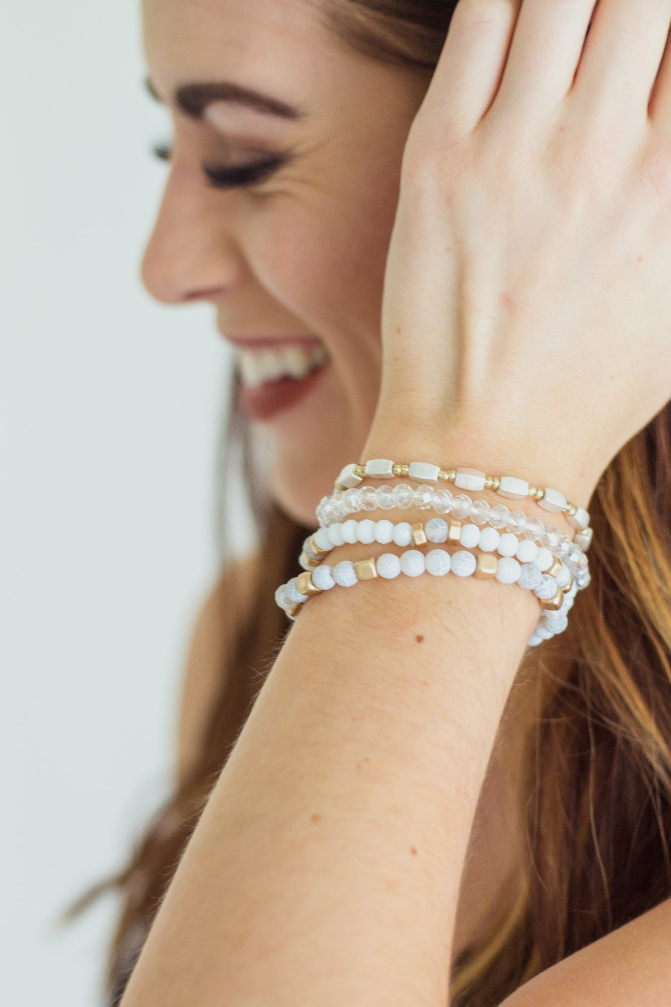 White Stone Multi Beaded Bracelet