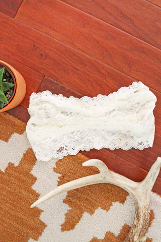 Cream Floral Lace Bandeau