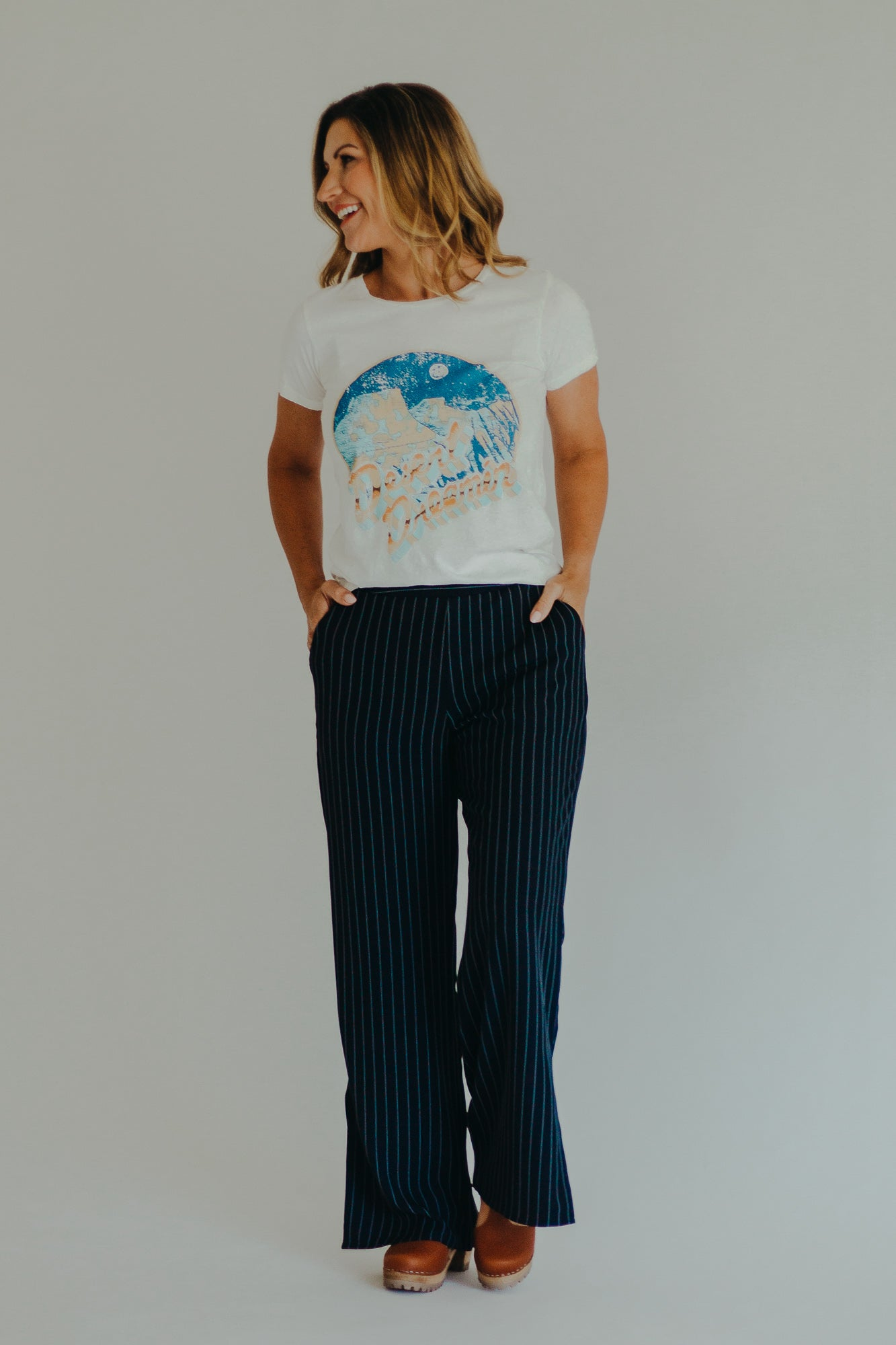Navy Nix Stripe Pants