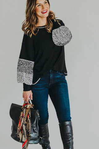 Mystree Charcoal Patched Sleeve Top