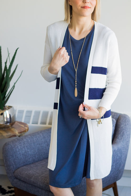 Boardwalk Navy Stripe Cardigan