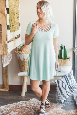 Lucky Brand Blue Scoop Neck Dress