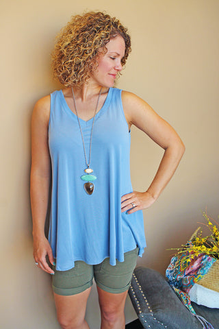 Denim Blue Tunic Swing Top