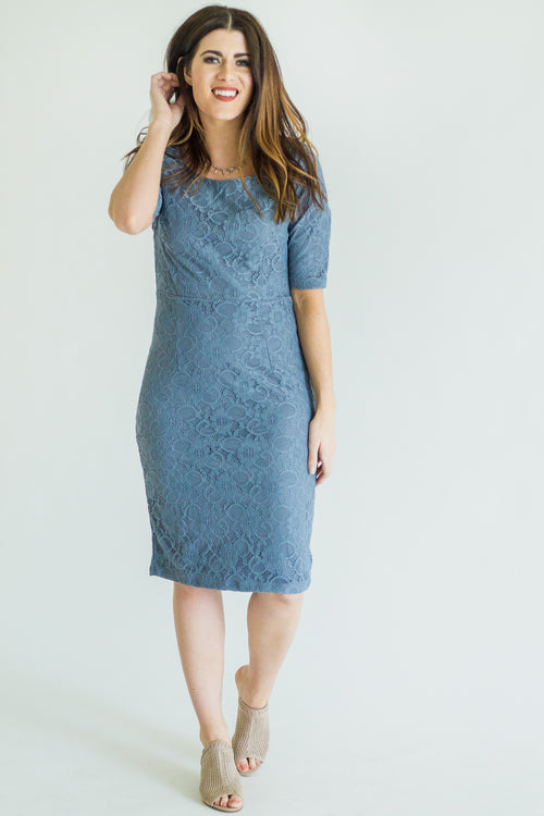 June Antique Blue Lace Dress