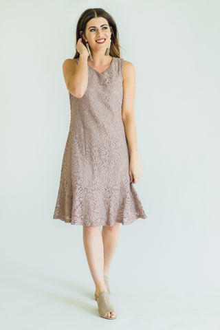 Henley Heather Knit Embroidered Dress