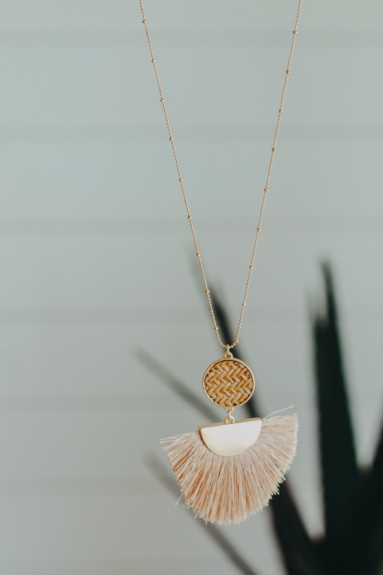 Wicker Fringe Necklace *Taupe