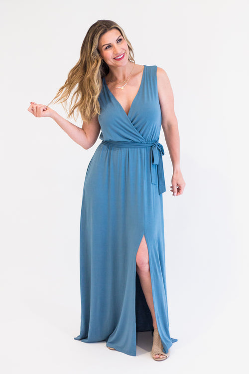 Dusty Teal Maxi Wrap Dress