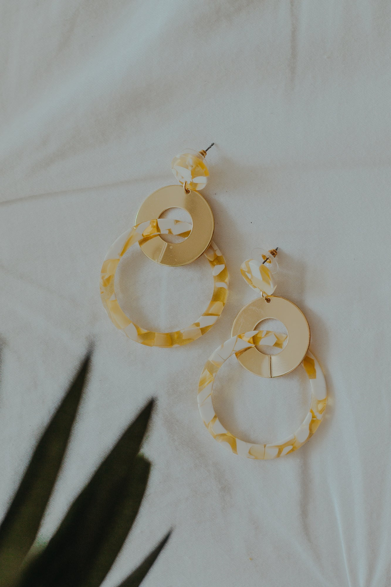 Mae Yellow Marble Earrings