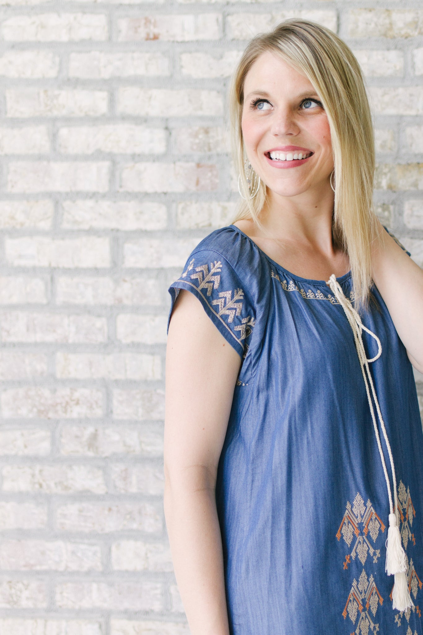 Denim Embroidered Tencel Dress