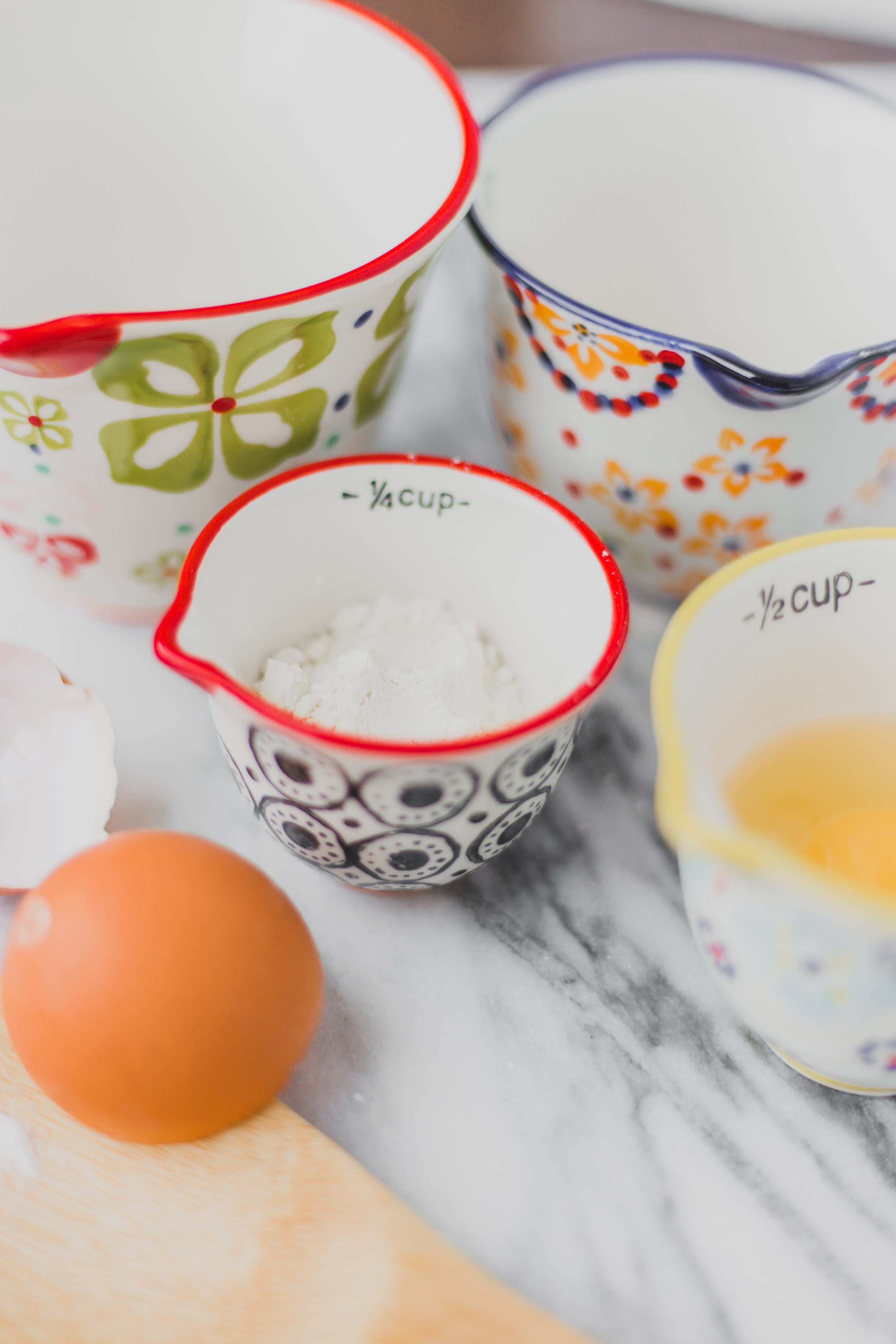 Colorful Hand Stamped Stoneware Measuring Cups